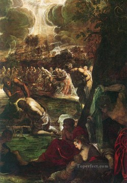 Baptism of Christ detail1 Italian Tintoretto Oil Paintings